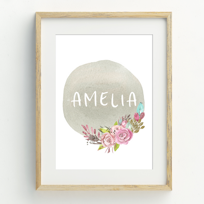 Floral Woodland Name Print