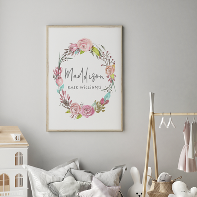 Floral Woodland Boho Wreath Name Print