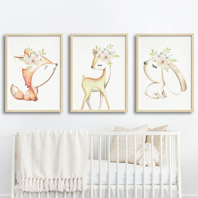 Baby, Girls Floral Woodland Nursery or Bedroom Wall Art Decor Print Set- Deer, Fox & Bunny
