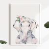 Girls Panda, Elephant & Giraffe Watercolour Nursery or Bedroom Print Set