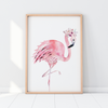 Pink Watercolour Boho Flamingo Nursery Print