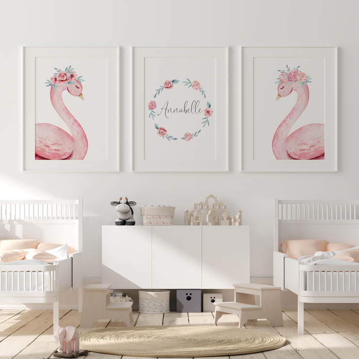 Pink Floral Watercolour Swans & Name Print