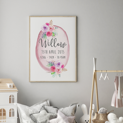 Baby, Girls Boho Floral Woodland Nursery or Bedroom Wall Art Decor Birth Print - Personalised