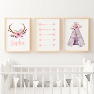 Baby, Girls Floral Boho Tribal Nursery or Bedroom Wall Art Decor Print Set with Personalised Antler Name Print