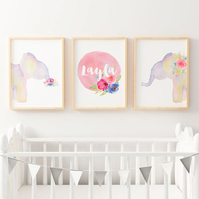 Girls Boho Floral Watercolour Elephants with Name Print - Nursery or Bedroom Wall Art Print Set