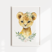Baby, Girls Floral, Baby Animal Nursery or Bedroom Wall Art Decor Print Set- Lion, Panda &Llama