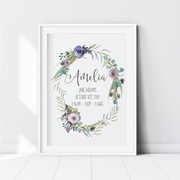 Floral Boho Woodland Birth Print - Purple