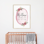 Boho Floral Woodland Nursery Birth Print - Personalised