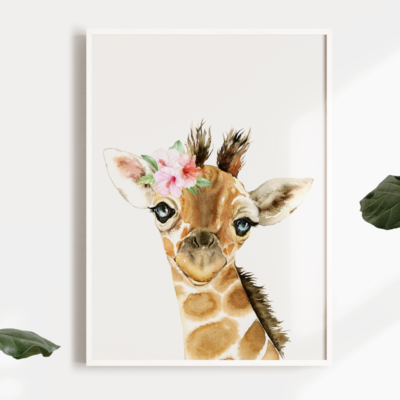 Girls Floral Watercolour Safari Jungle Giraffe Nursery or Bedroom Wall Art Print