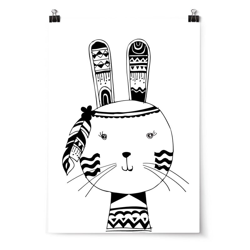 Girls Tribal Monochrome Woodland Bunny Nursery or Bedroom Wall Art Print