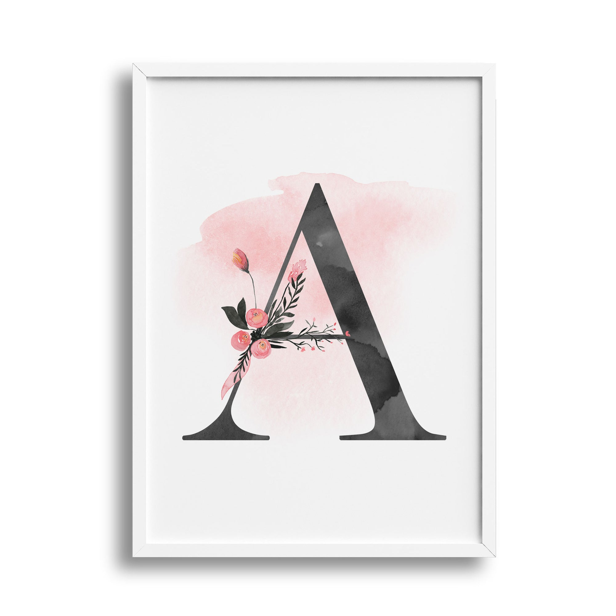 Girls Monogram Floral Letter Nursery or Bedroom Wall Art Name Print - Personalised