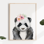 Girls Floral Watercolour Safari Panda Nursery or Bedroom Wall Art Print