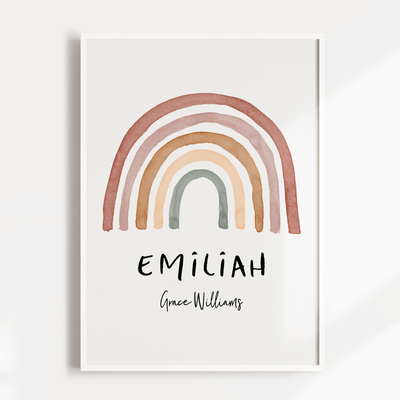 Watercolour Rainbow Name Print