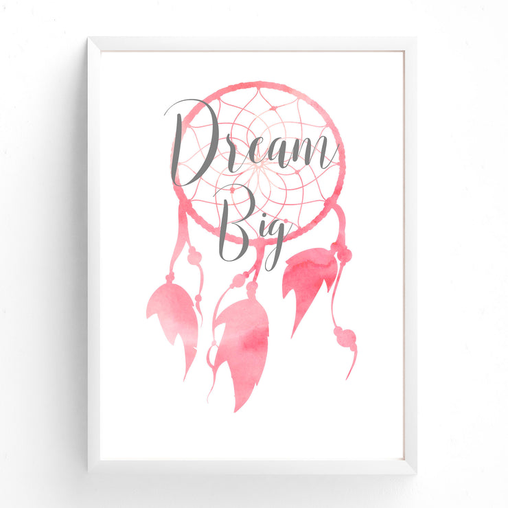 Pink Watercolour Dream Big Dreamcatcher