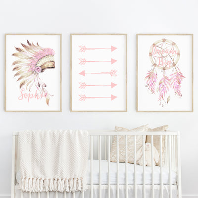 Girls Boho Tribal Headress, Arrows & Dreamcatcher Nursery or Bedroom Print Set