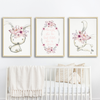 Girls Pink Floral Woodland Bunny Nursery Prints, Set of 3