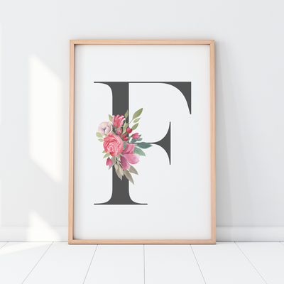 Girls Pink Floral Watercolour Monogram Letter Print