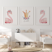 Pink Floral Watercolour Swans & Gold Princess Crown Name Print