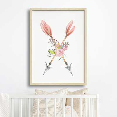 Pink Boho Tribal Arrows Art Print