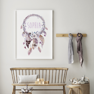 Woodland Boho Dreamcatcher Name Print