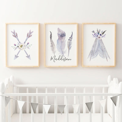 Baby, Girls Boho Tribal Nursery or Bedroom Wall Art Decor Print Set with Personalised Feather Name Print