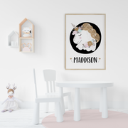 Girls Scandi Unicorn Nursery Wall Art Name Print - Personalised
