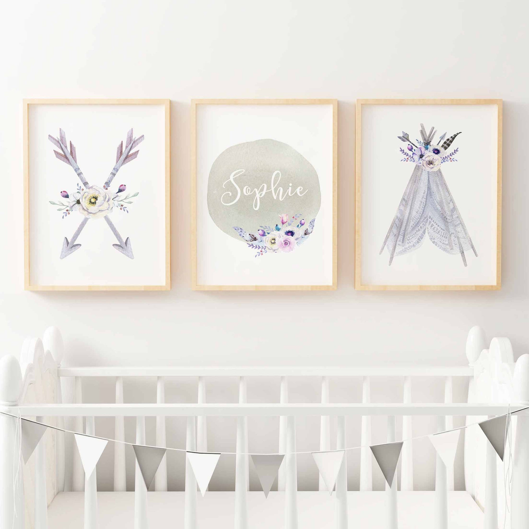 Baby, Girls Boho Tribal Nursery or Bedroom Wall Art Decor Print Set with Personalised Name Print