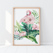 Girls Tropical Flamingo Set of 3 Nursery Prints with Personalised Letter Print