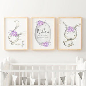 Baby, Girls Woodland Boho Bunny Nursery or Bedroom Wall Art Decor Print Set- Birth Print Purple