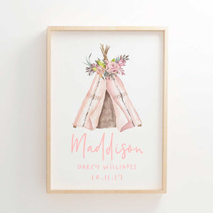 Baby Girls Floral Boho Tribal Teepee Nursery or Bedroom Wall Art Birth Print - Personalised