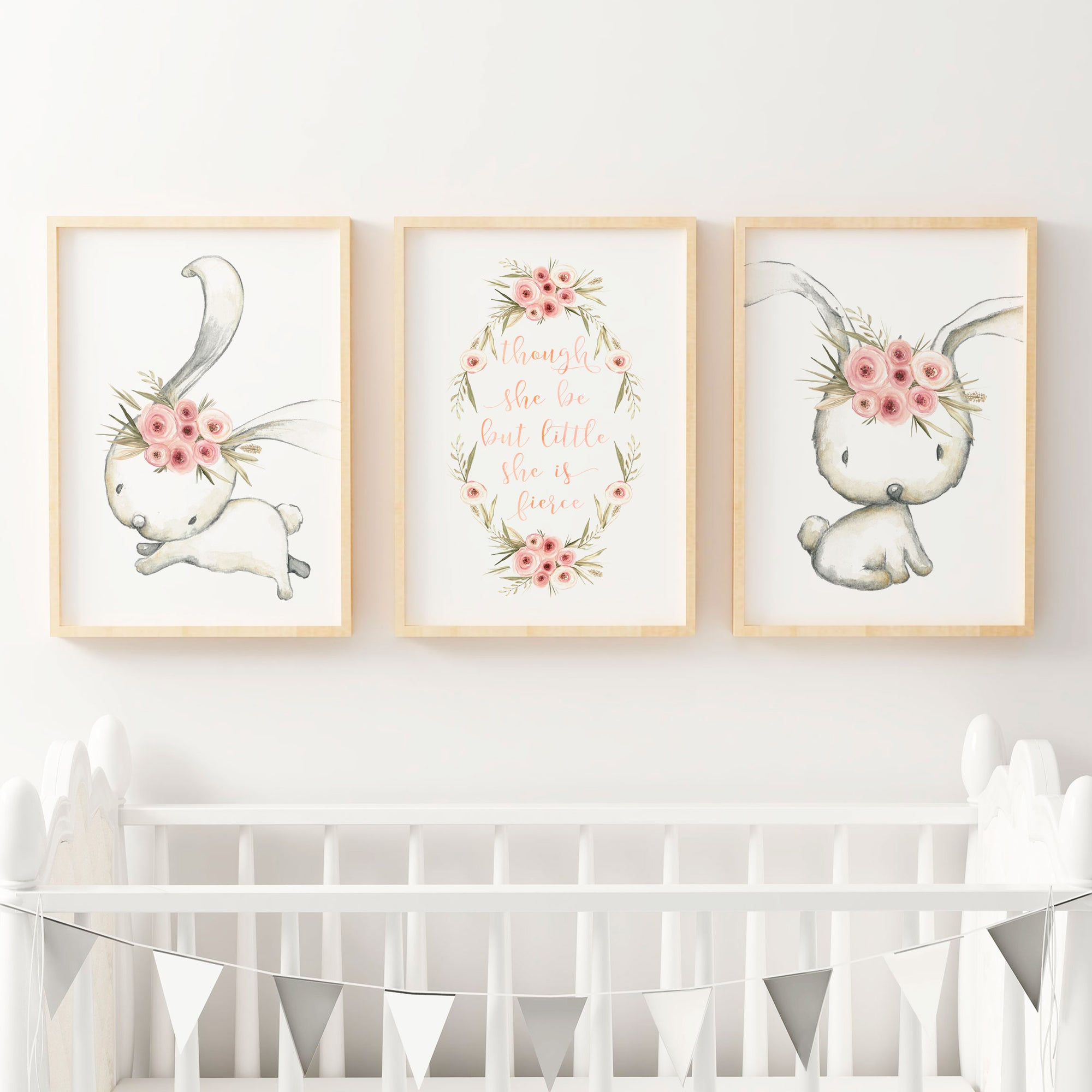 Woodland boho floral bunny nursery wall art print set baby girls the kids print store
