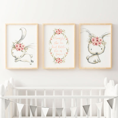 Woodland Floral Bunny Nursery or Bedroom Wall Art Decor Print Set with Quote