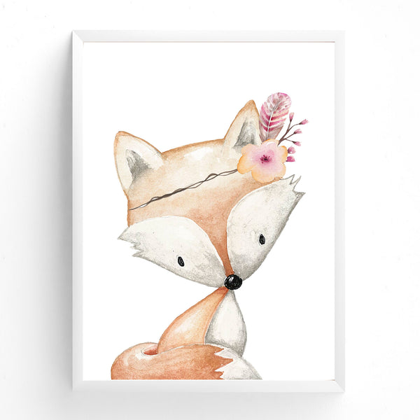 Baby, Girls  Woodland Fox Nursery or Bedroom Wall Art Decor Print