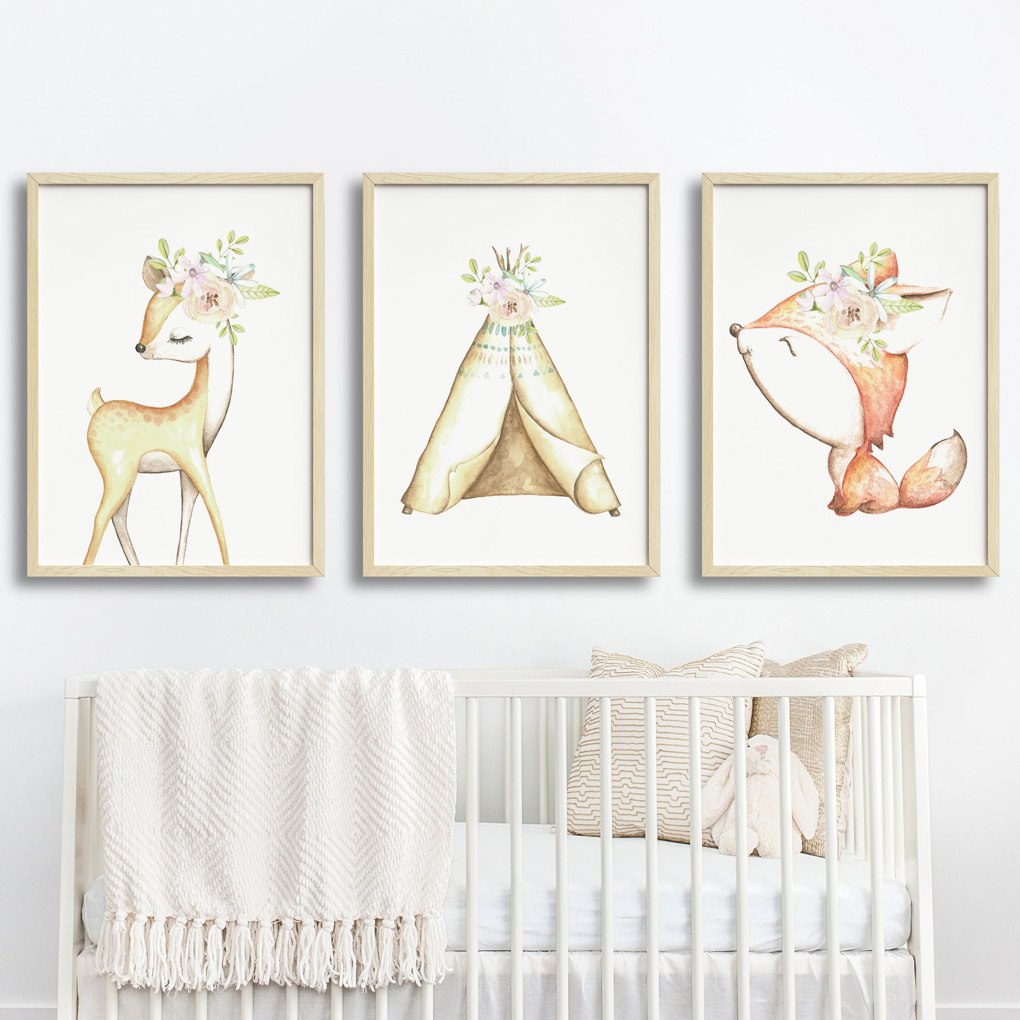 Baby, Girls Floral Woodland Nursery or Bedroom Wall Art Decor Print Set- Deer, Fox & Teepee