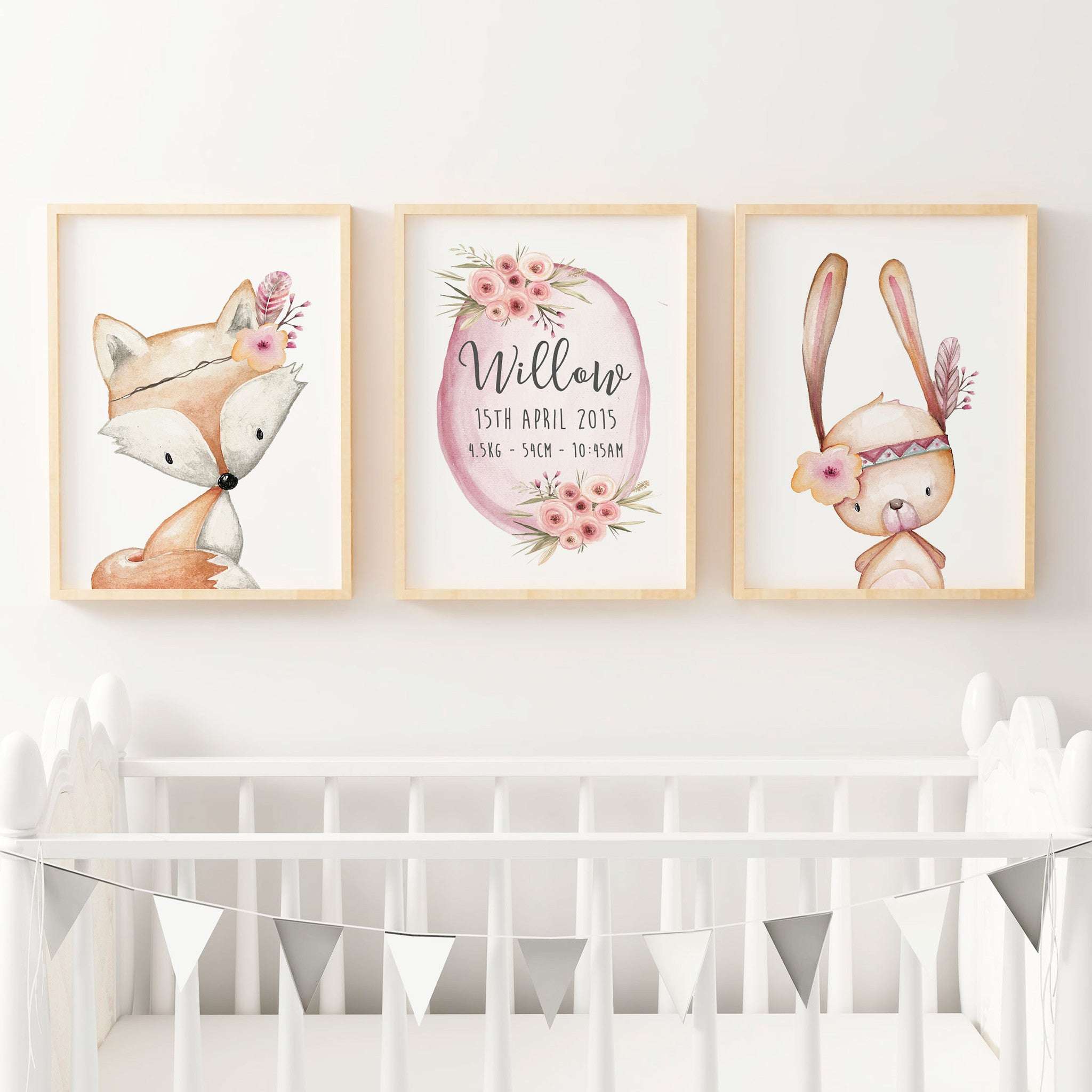 Baby Girls Floral Woodland Nursery Or Bedroom Wall Art Decor Print Set