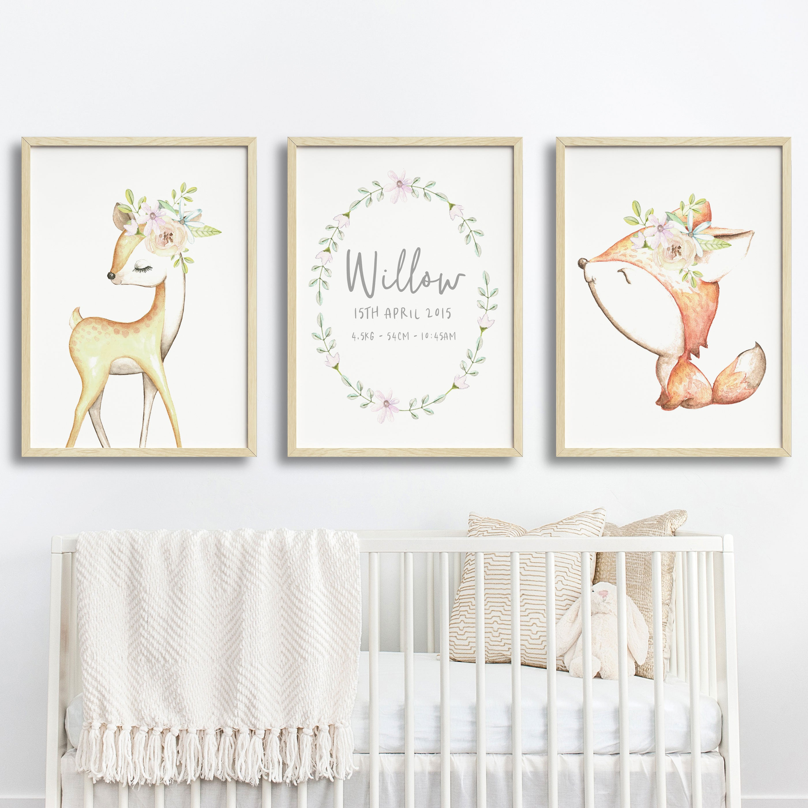 Baby, Girls Floral Woodland Nursery Or Bedroom Wall Art Decor