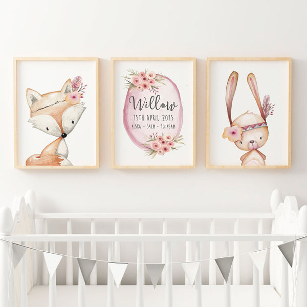 Baby, Girls Floral Woodland Nursery or Bedroom Wall Art Decor Print Set- Personalised Birth Print, Bunny & Fox