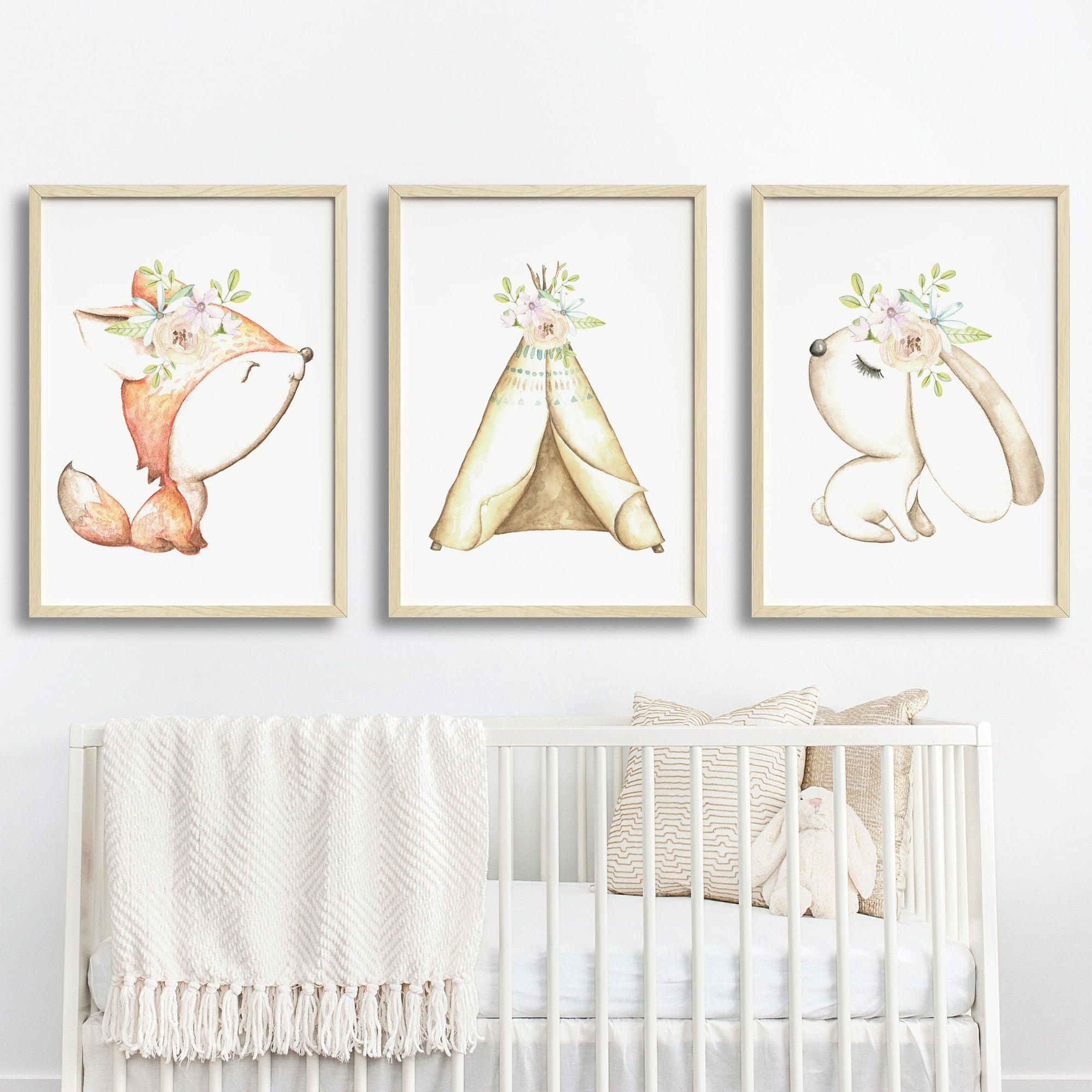 Baby, Girls Floral Woodland Nursery or Bedroom Wall Art Decor Print Set- Fox, Bunny & Teepee
