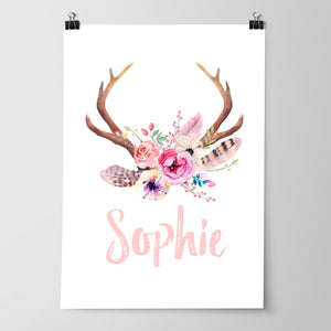 Baby Girls Floral Boho Tribal Antler Nursery or Bedroom Wall Art Name Print - Personalised