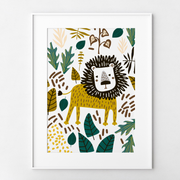 Jungle Lion Collage Art Print