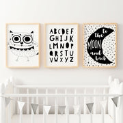 Monochrome Nursery or Bedroom Wall Art Decor Print Set