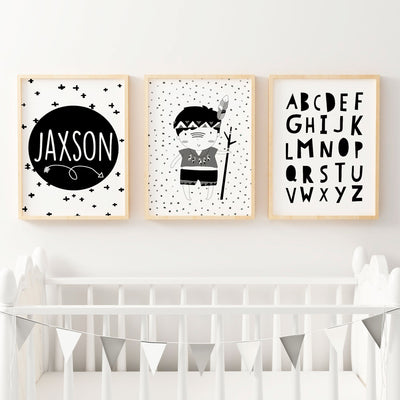 Boys Monochrome Tribal Prints - Set of 3