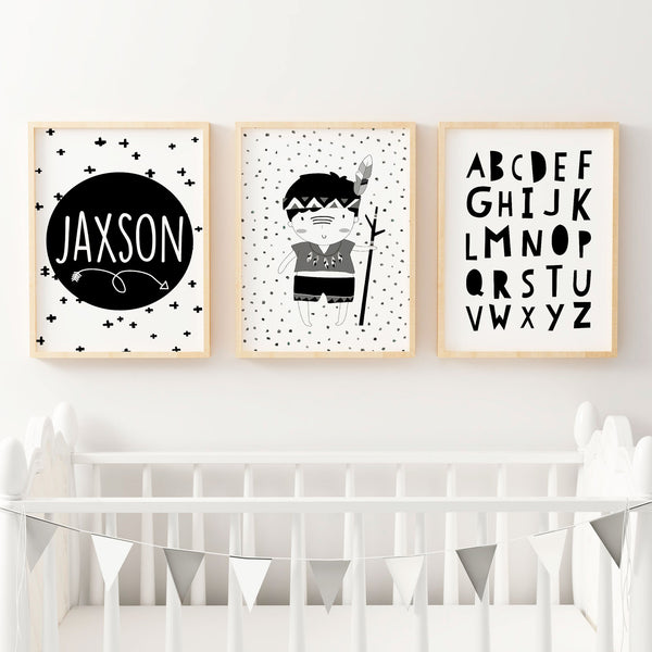 Boys monochrome tribal prints set of 3