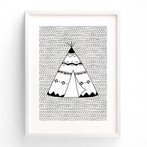 Boys Monochrome Tribal Teepee Nursery or Bedroom Wall Art Print