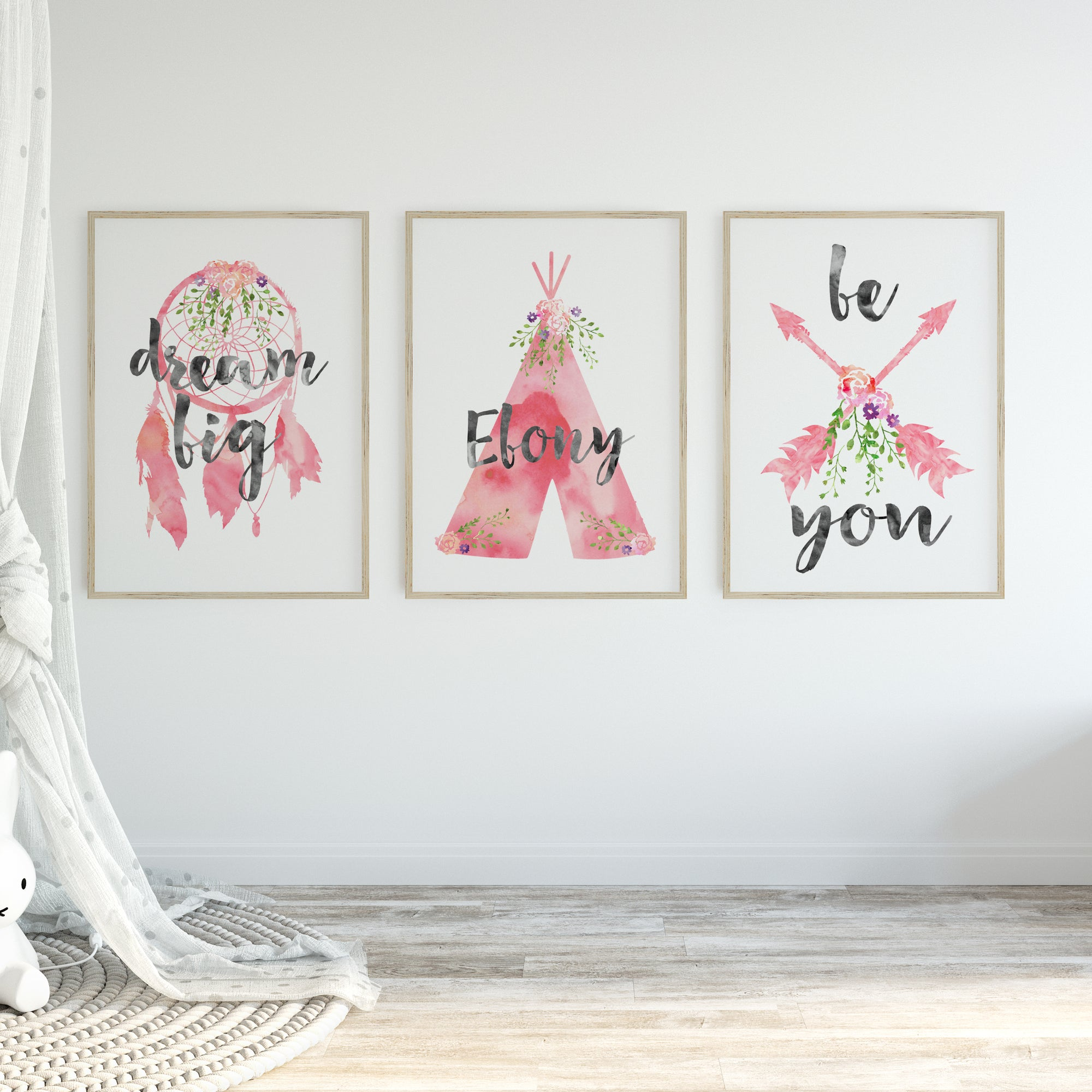 Baby, Girls Boho Tribal Nursery or Bedroom Wall Art Decor Print Set with Personalised Teepee Name Print