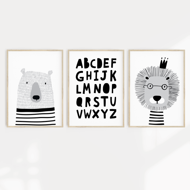 Scandi Animal Nursery Print Set - Bear, Lion & ABC