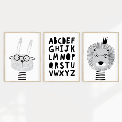 Scandi Animal Nursery Print Set - Bunny, Lion & ABC