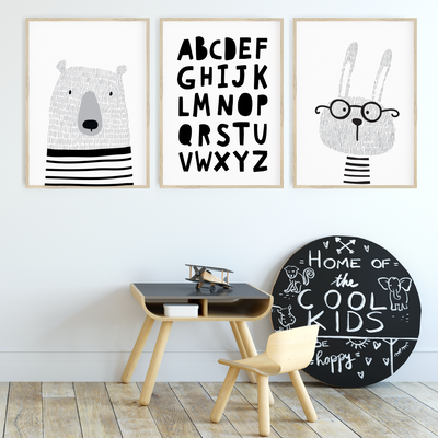Monochrome Scandi Animal Nursery Wall Art Print Set - Bunny, Bear & ABC