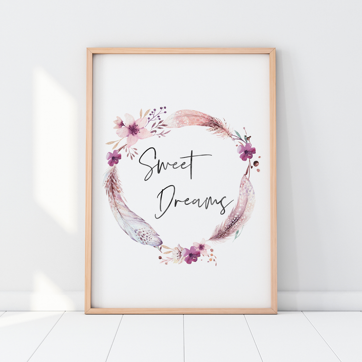 Boho Feather & Floral Wreath Sweet Dreams Print