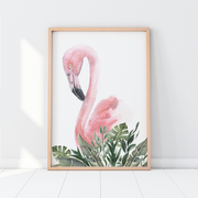 Tropical Watercolour Flamingos - Set of 3 Nursery Prints - Personalised